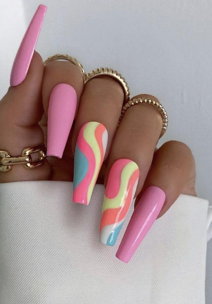 30 Gorgeous Swirl Nails You To See Now 2021. |Swirl Nail Designs|.